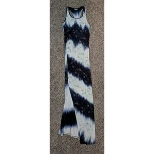 BDB Striped Faded White, Blue & Green Maxi Dress